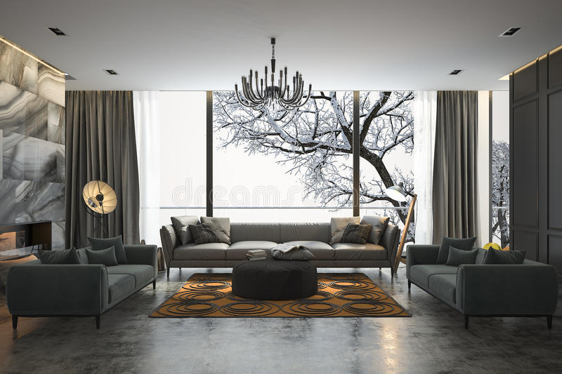 3d rendering living room with sofa near winter scene outside window royalty free illustration