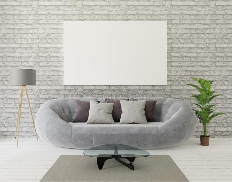 3d rendering loft living room with gray sofa ,lamp, tree, brick wall,carpet,anf frame for mock up stock illustration
