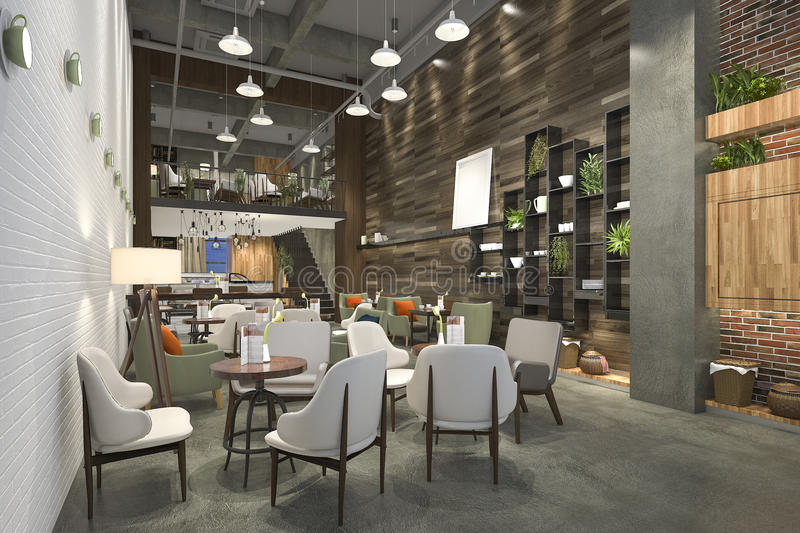 3d rendering loft and luxury hotel reception and cafe - Hotel interior and exterior design ...