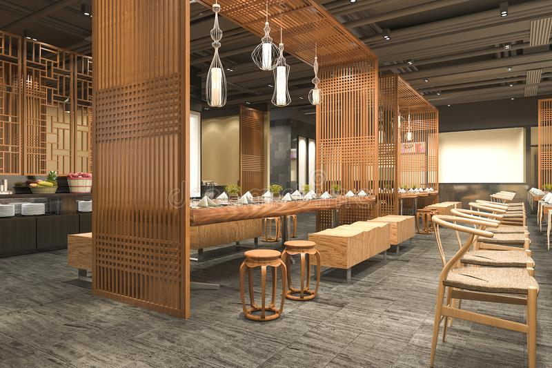 3d rendering loft and luxury hotel reception wood cafe - Hotel interior and exterior design ...