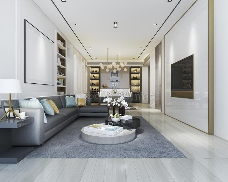 3d rendering loft luxury living room with bookshelf and dining room stock illustratie