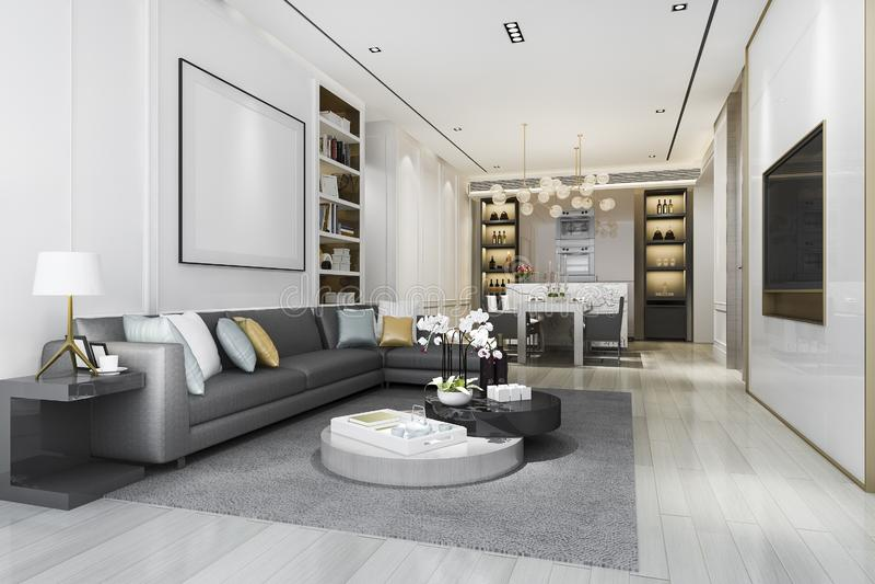 3d rendering loft luxury living room with bookshelf and dining room vector illustratie