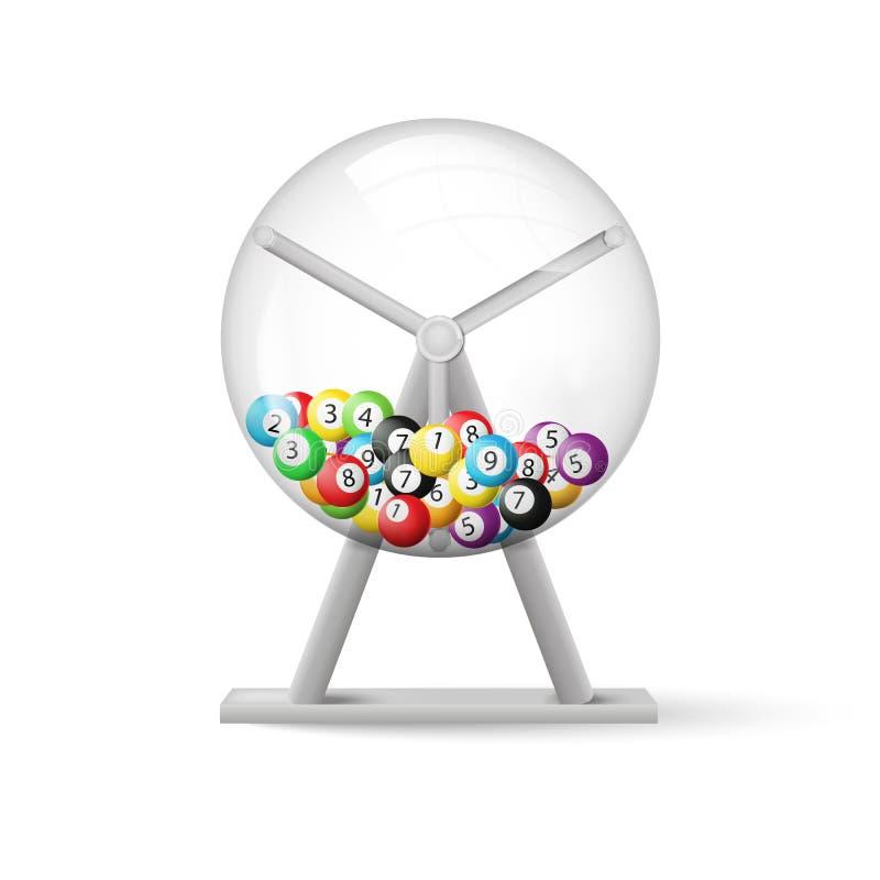 3d rendering loteryjna maszyna z piłki inside odizolowywającym na białym tle również zwrócić corel ilustracji wektora ilustracji