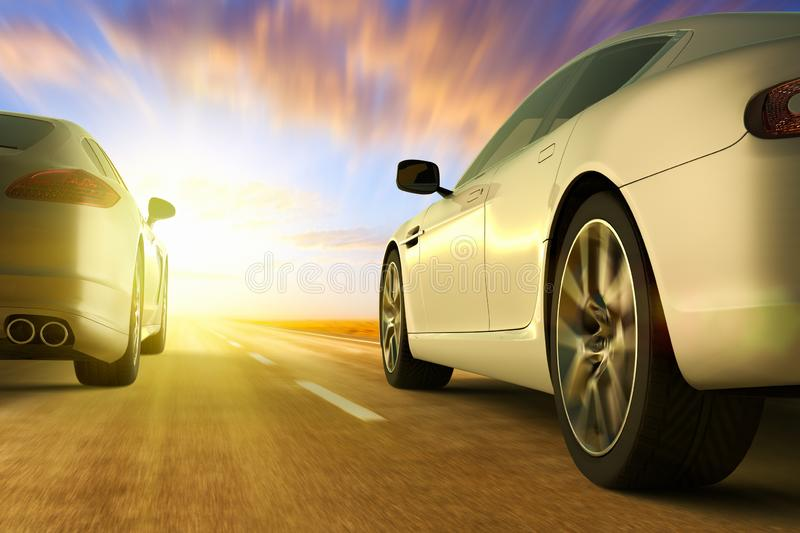 Low angle view of cars on motion on the road at sunset stock illustration