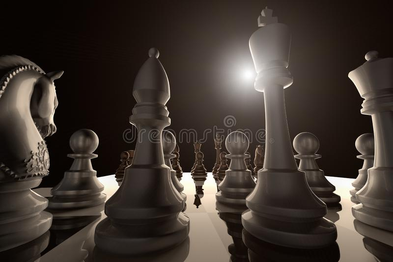 A low angle view of a chess game ready to begin stock illustration