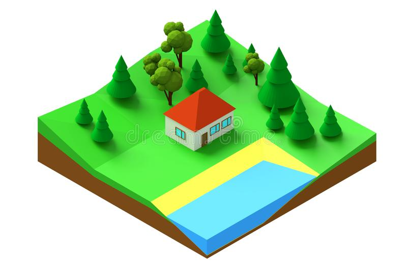 3d rendering Low polygonal isometric model of a house in the forest. Low polygonal isometric model of a house in the forest on the lake. 3d rendering of a vector illustration
