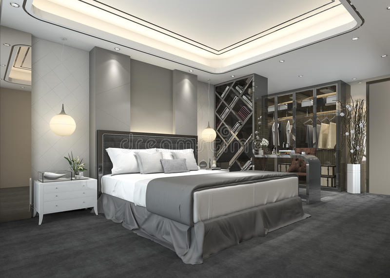 download 3d rendering luxury modern bedroom suite in hotel with wardrobe and walk in closet stock - Luxury Modern Bedroom