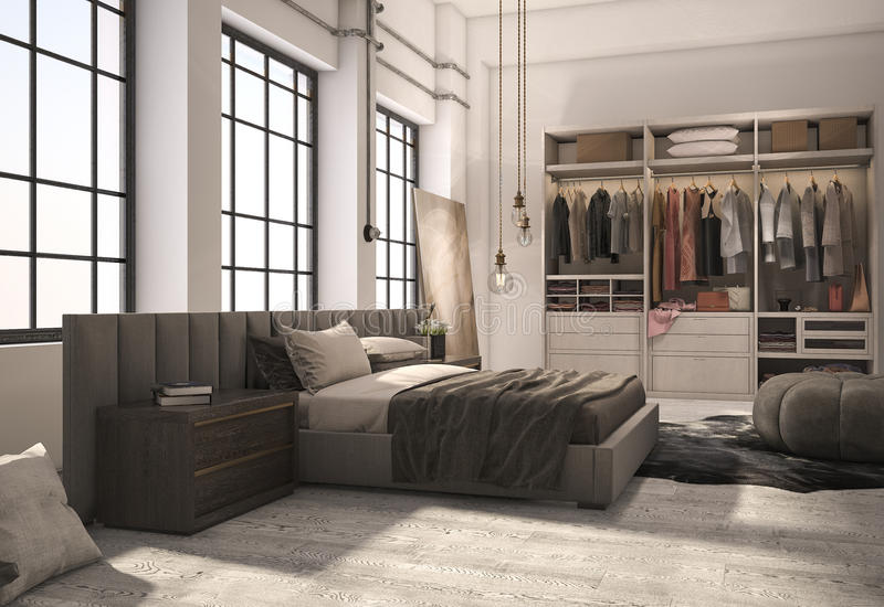 Download 3d Rendering Luxury Modern Bedroom Suite With Wardrobe And Walk In Closet Stock Illustration