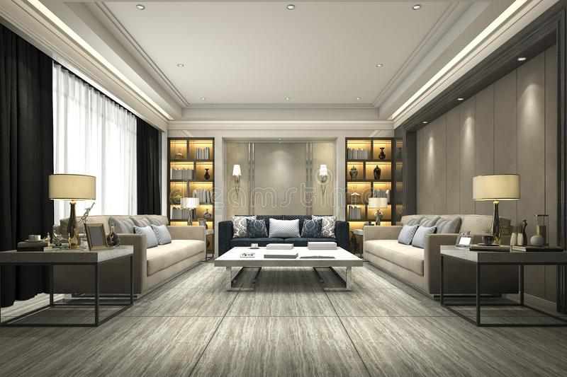 3d Rendering Luxury And Modern Living Room With Bookshelf Stock