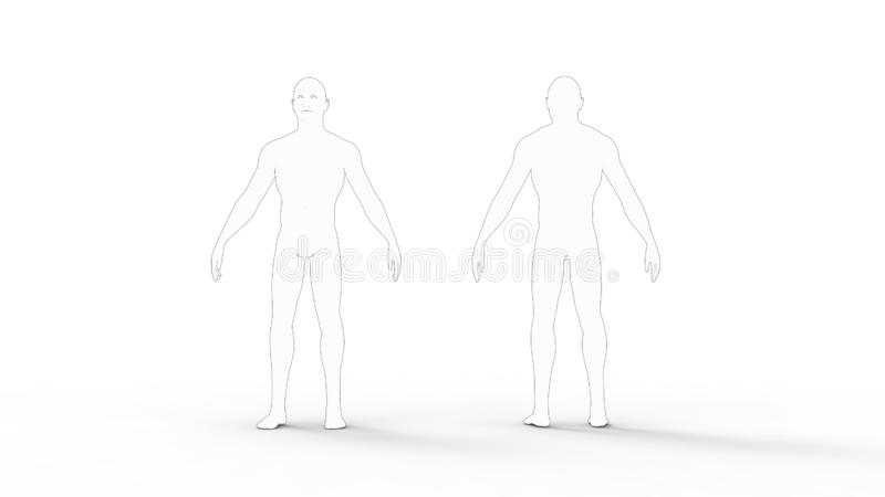 3d rendering męska chama modela osoba odizolowywająca w białym tle ilustracji