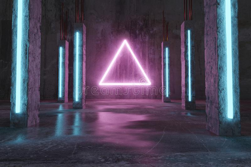 3d rendering of magenta lighten triangle shape next by blue concrete pillars and grunge floor with puddles royalty free stock image