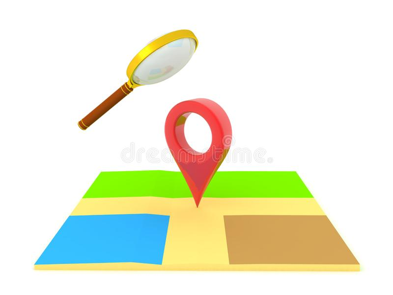 3D Rendering of magnifying glass above map and location pin vector illustration