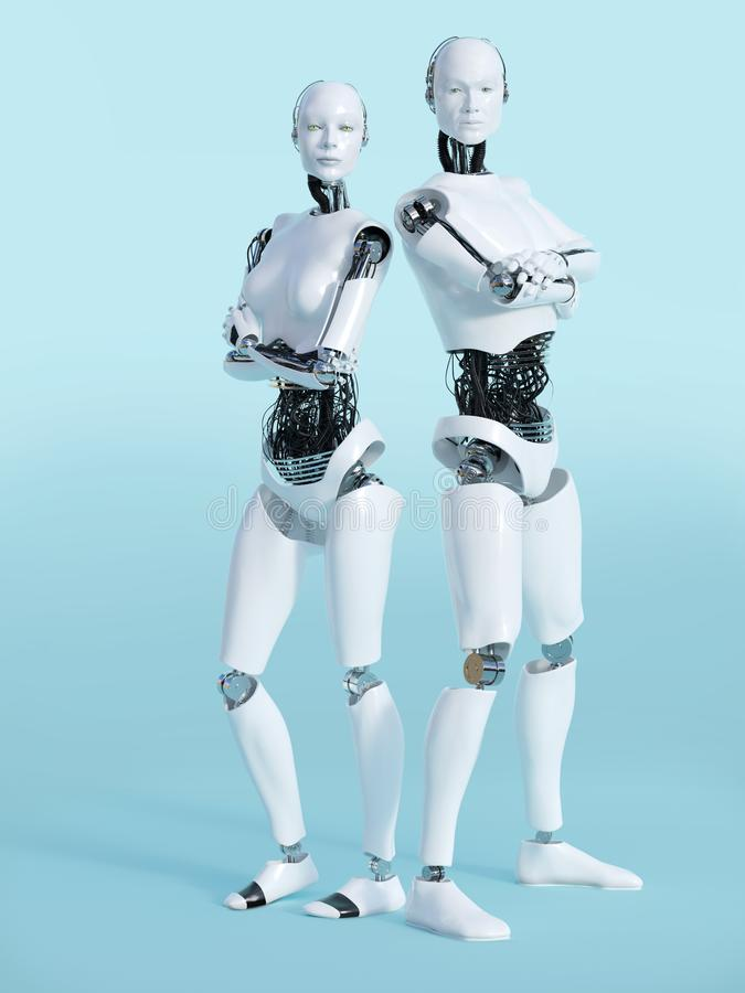 3D rendering of male and female robot nr 2. stock illustration