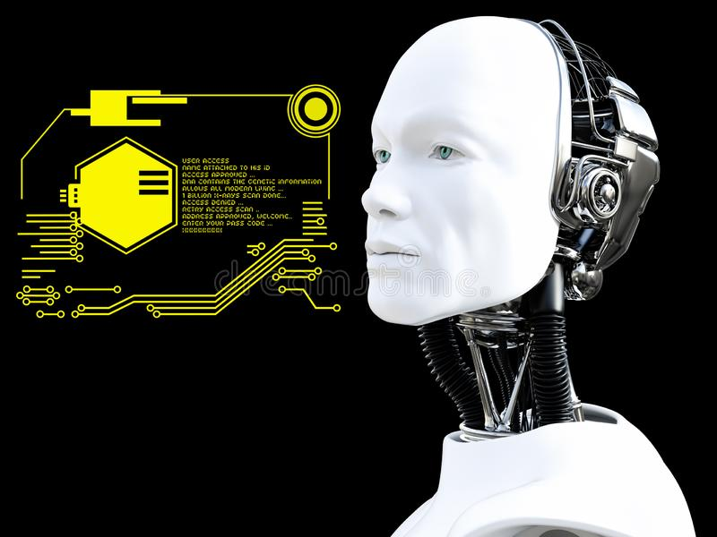 3D rendering of male robot head technology concept. Black background royalty free illustration