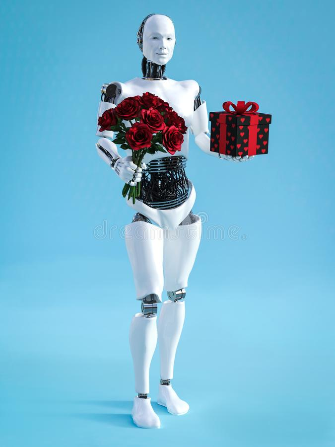 3D rendering of male robot holding a bouquet of roses vector illustration