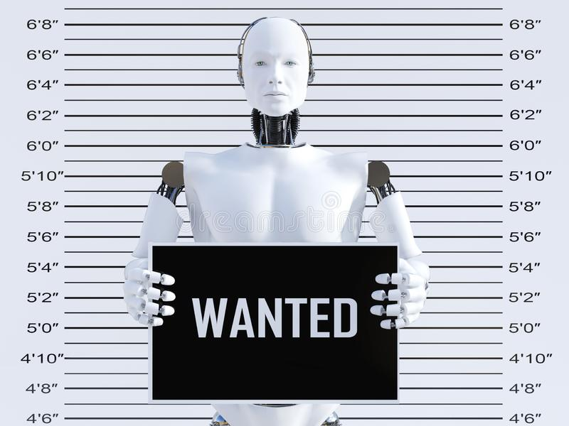 3D rendering of male robot in a mugshot royalty free illustration