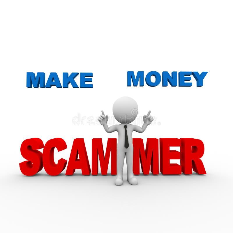 3d man make money online scam alert. 3d rendering of man scam alert online make money scammer person people man stock illustration