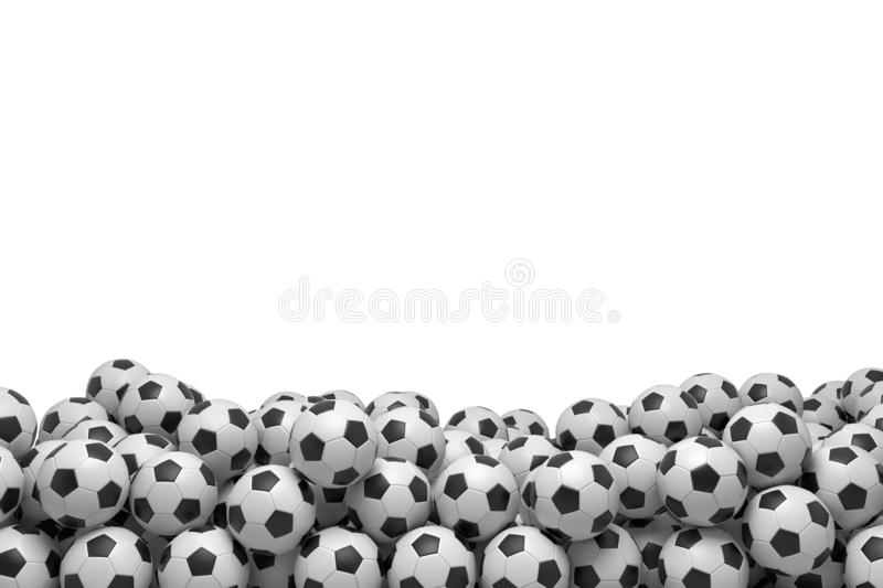 3d rendering of many football balls lying in a big pile on top of each other on a white background. Sport equipment. Team sport. Active recreation stock images