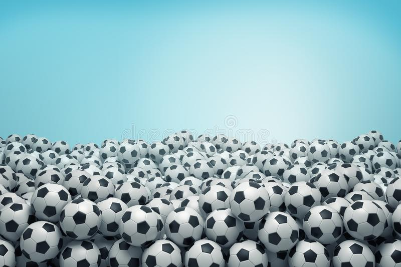 3d rendering of many identical black-and-white football balls lying in a huge heap on a blue background. stock illustration