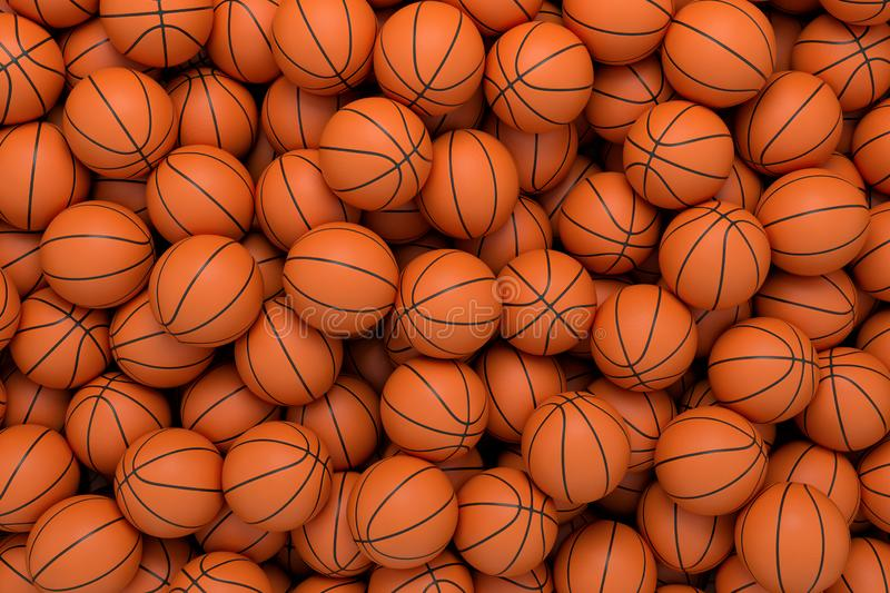 3d rendering of many orange basketball balls lying in an endless pile seen from the top. stock illustration