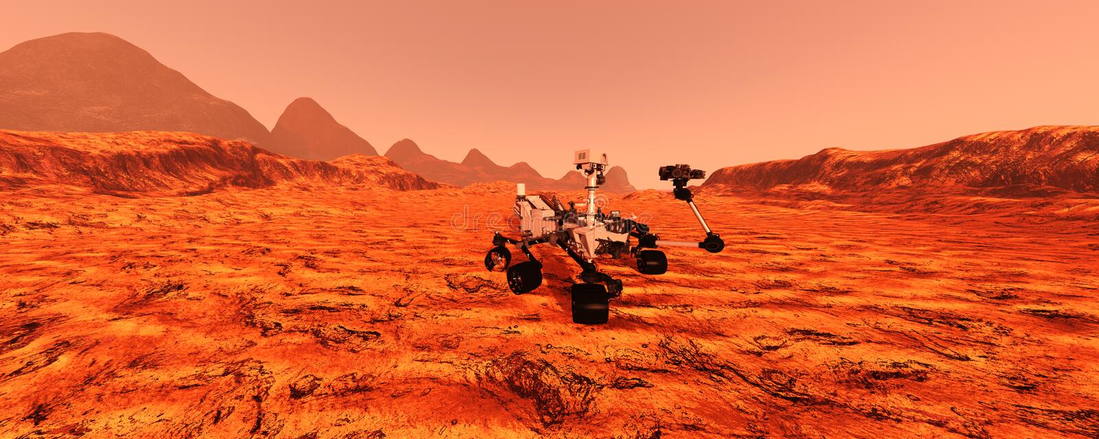 3D Rendering Mars Rover royalty free stock images