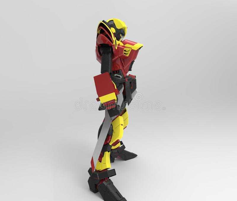3d rendering of a mech standing on a isolated background vector illustration
