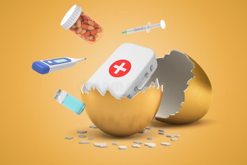 3d rendering medyczna torba, słój pigułki, strzykawka, termometr i buteleczka kluje się za złotym jajku od, ilustracji