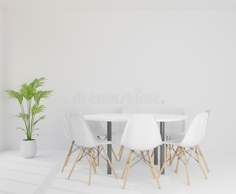 3D rendering meeting room with chairs , round plastic table, and tree stock illustration