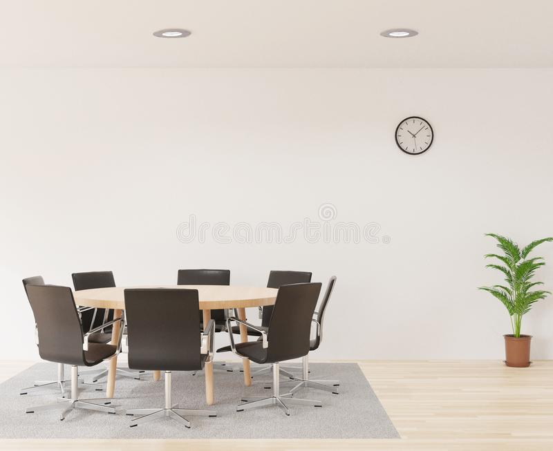 3D rendering meeting room with chairs , round wooden table, white room, carpet and little tree royalty free illustration