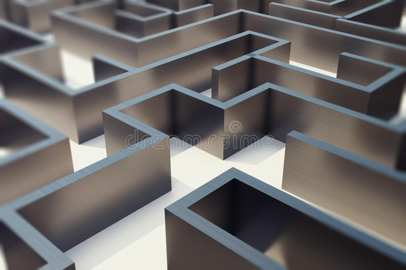 3d rendering metal labyrinth, complex problem solving concept. royalty free illustration