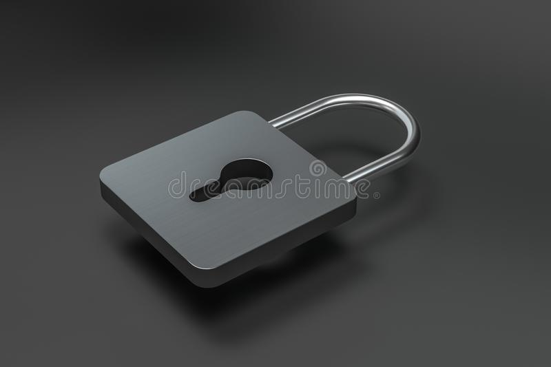 3d rendering, metal lock with digital concept background. Computer digital background cyber business safeguard padlock symbol firewall electrical safety vector illustration