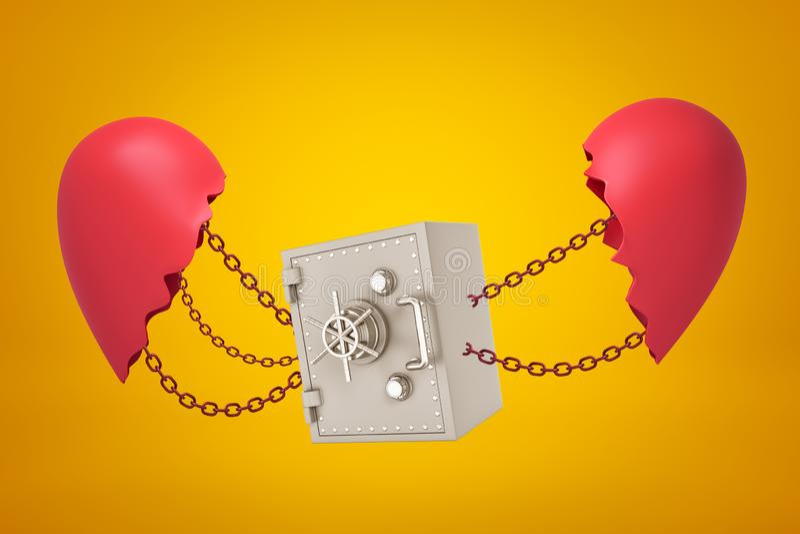 3d rendering metalu banka skrytka przykuwająca między dwa łamanymi czerwonymi serce kawałkami na żółtym tle royalty ilustracja