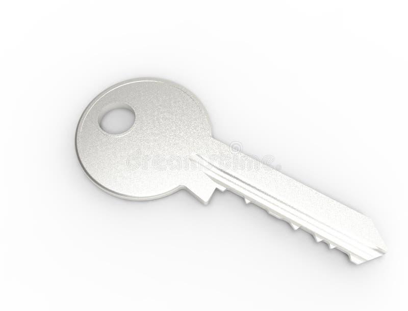 3d rendering metalu klucz odizolowywający w białym pracownianym tle royalty ilustracja