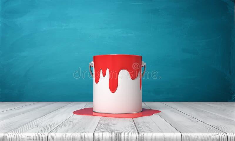 3d rendering metalu wiadro z czerwoną farbą przelewa się na swój stronach i na drewnianym biurku wokoło go ilustracja wektor