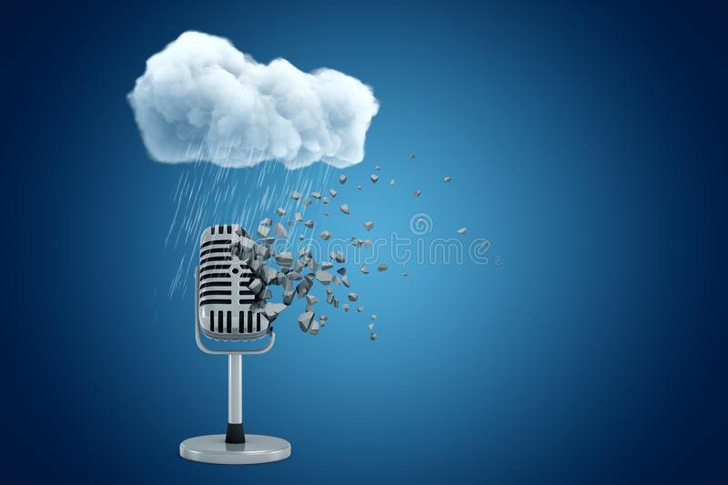 3d rendering of microphone dissolving into small pieces standing under raining cloud on blue gradient background with. Copy space. Music industry. Song contest stock illustration