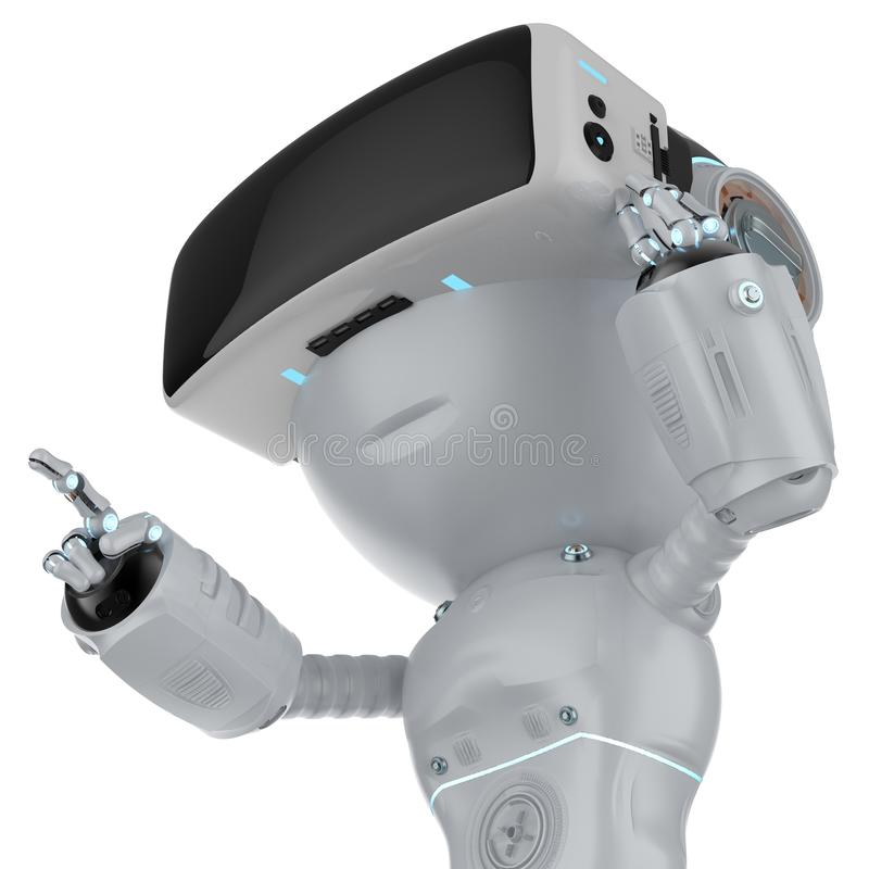 Mini robot with vr headset vector illustration