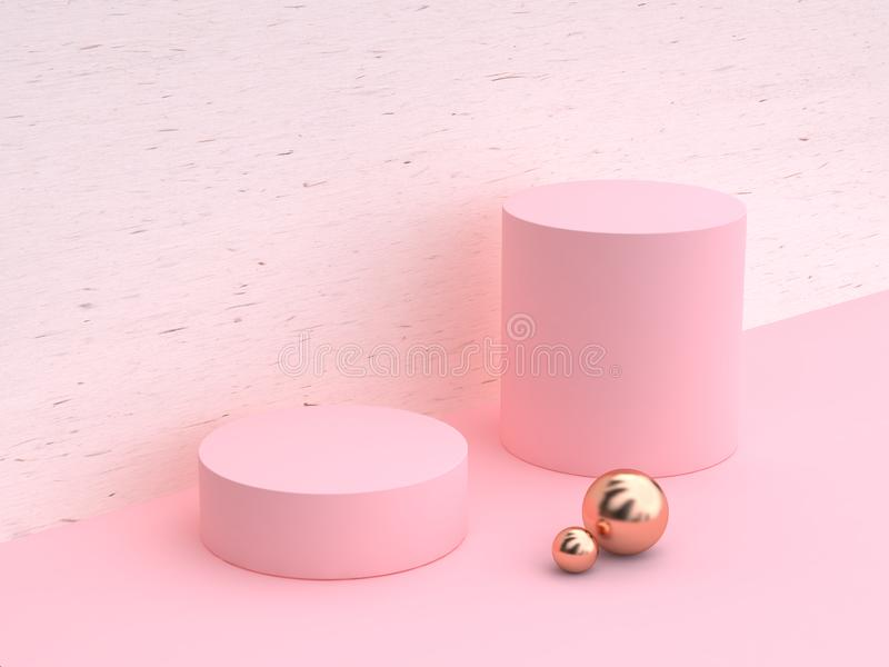 3d rendering minimal abstract cylinder shape white wood pink wall scene vector illustration