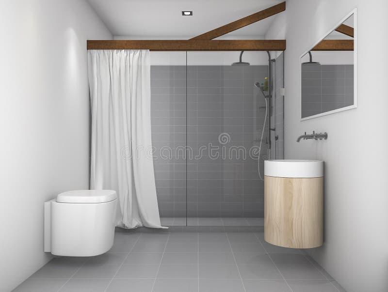 Download 3d Rendering Minimal Design Toilet With Grey Tone Stock Illustration