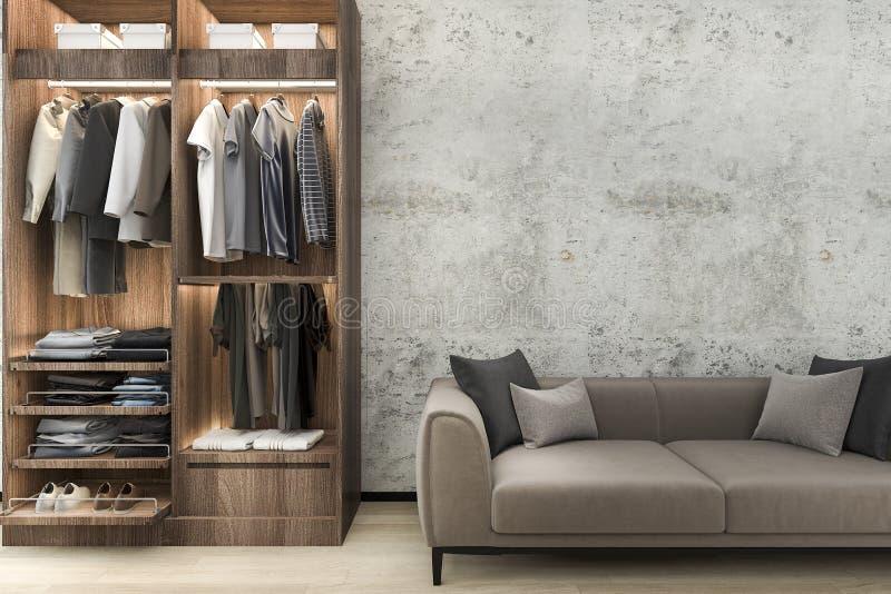 Download 3d Rendering Minimal Loft Sofa With Wood Walk In Closet With  Wardrobe Stock Illustration