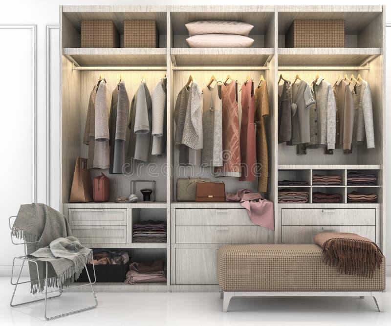 Download 3d Rendering Minimal Scandinavian Wood Walk In Closet With Wardrobe  Stock Illustration   Illustration Of