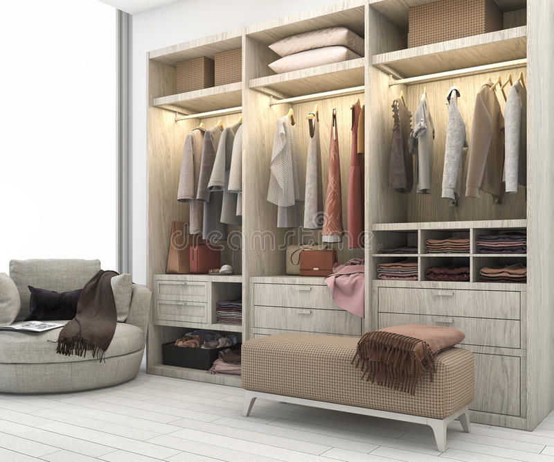Download 3d Rendering Minimal Scandinavian Wood Walk In Closet With Wardrobe  Stock Illustration   Illustration Of