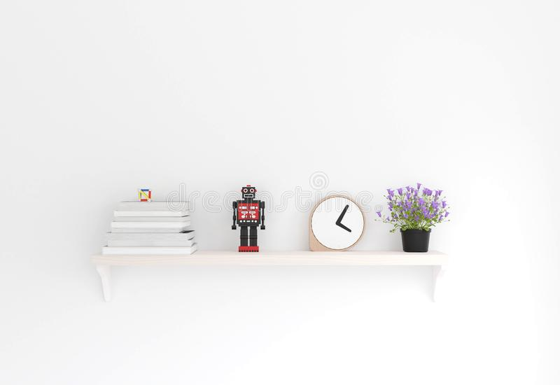 3D rendering minimal style ,wooden shelf and white wall royalty free illustration