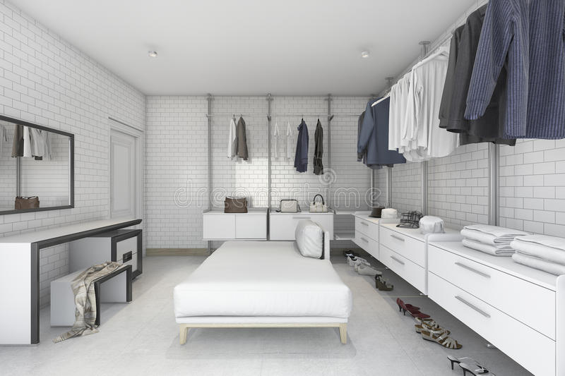 Superb Download 3d Rendering Minimal White Brick Make Up Room And Walk In Closet  Stock Illustration