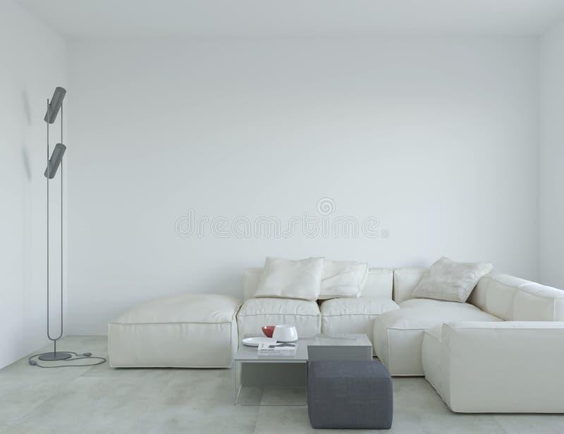 3d rendering minimalistic wnętrze z kanapą royalty ilustracja