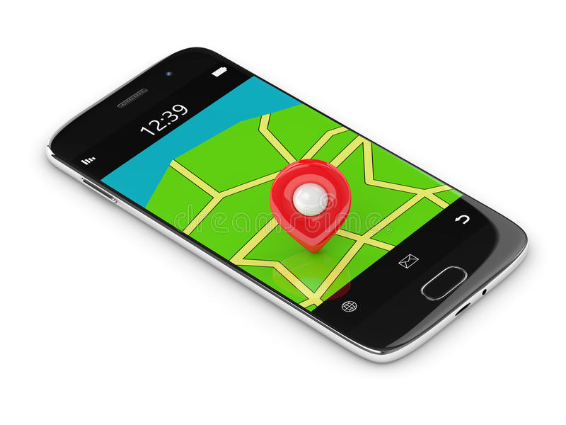 3d rendering of mobile phone with map ang gps isolated over white. Background vector illustration