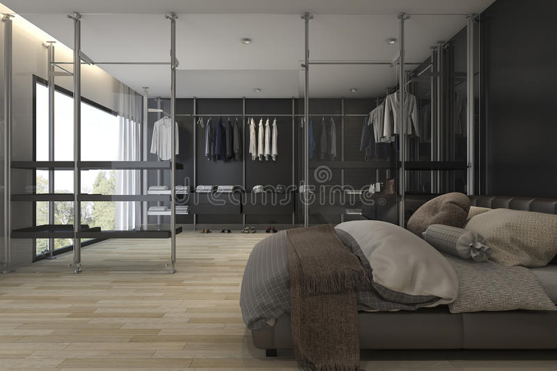 Perfect 3d Rendering Modern Bathroom With Walk In Closet And Wardrobe  RP62