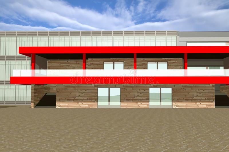 3D rendering of modern building exterior. Closeup view of entrance with parking space