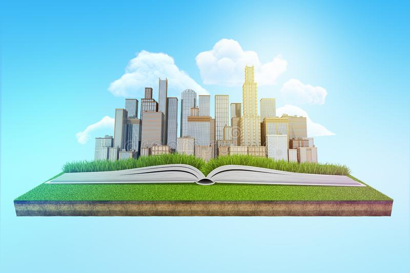 3d rendering of a modern city rising from an open book which lies on a patch of green lawn floating in blue sky. stock illustration