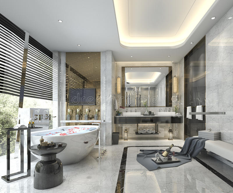 Classic Luxury Bathroom: 3d Rendering Modern Classic Bathroom With Luxury Tile