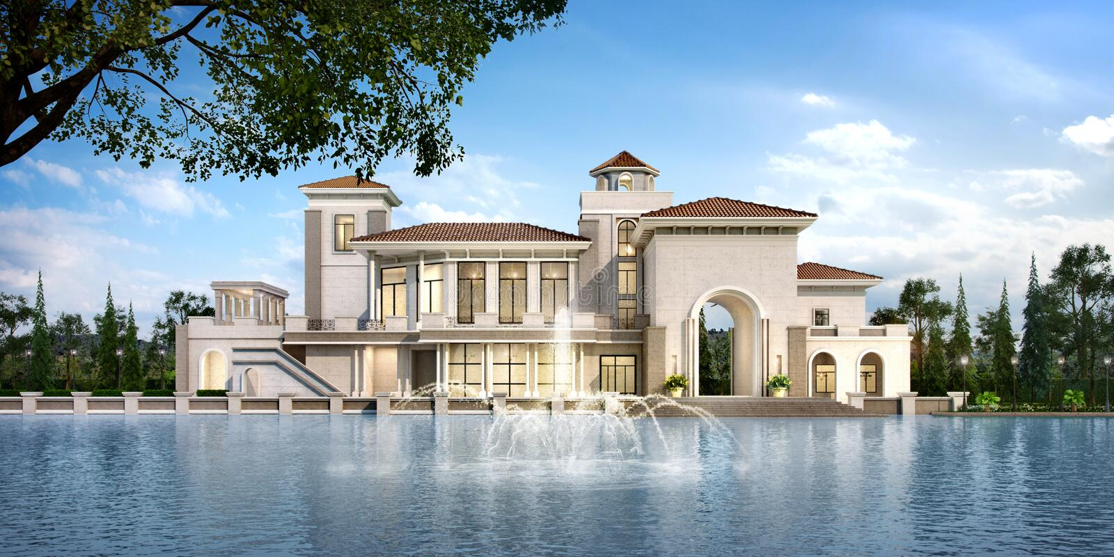 3d rendering modern classic clubhouse castle with luxury for Classic villa exterior design